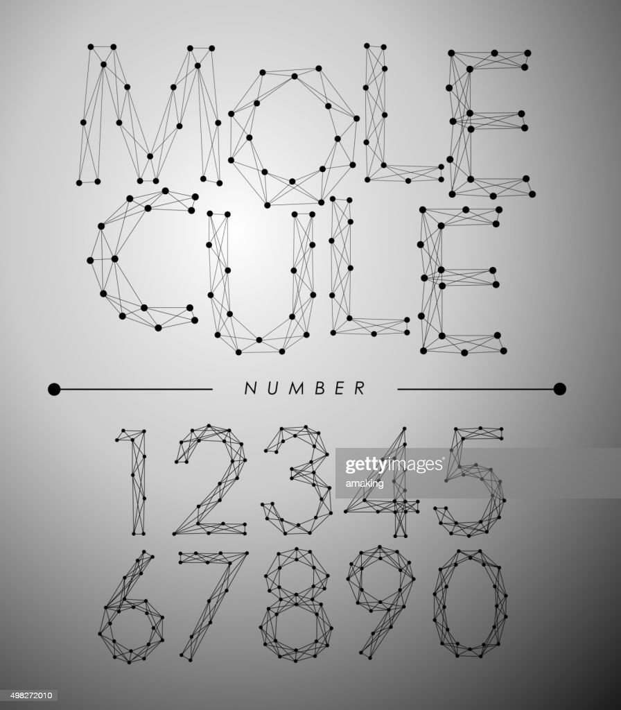 Molecule Trendy alphabet fonts Number.