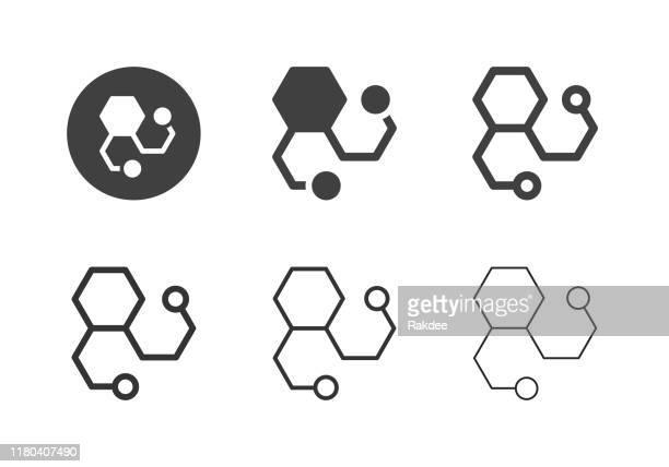 illustrazioni stock, clip art, cartoni animati e icone di tendenza di icone molecole - serie multi - molecola