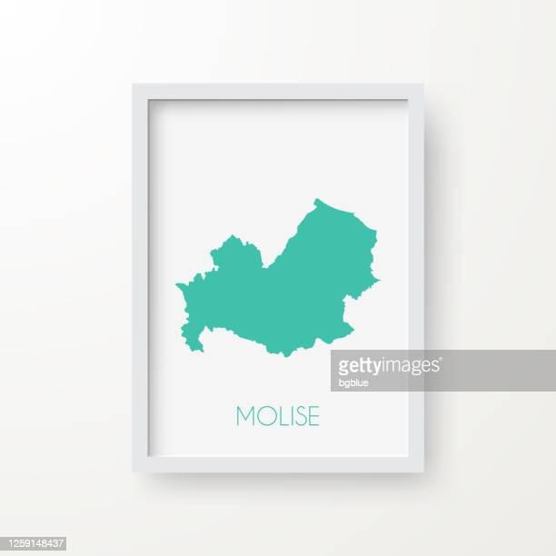 illustrazioni stock, clip art, cartoni animati e icone di tendenza di mappa molise in cornice su sfondo bianco - molise