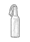 Molotov Cocktail. Engraving vintage vector illustration.