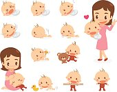 Mom and baby. Baby development stages