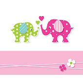mom and baby elephants greeting card