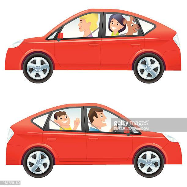 mom and dad driving - family cycling stock illustrations, clip art, cartoons, & icons