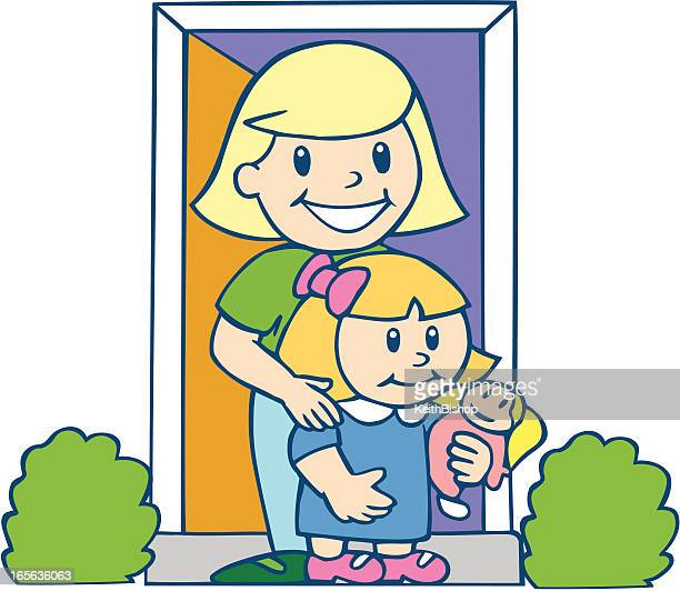 mom and daughter in doorway - cartoon - kids hugging mom cartoon stock illustrations