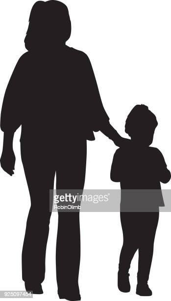 mom and daughter walking together - racewalking stock illustrations, clip art, cartoons, & icons