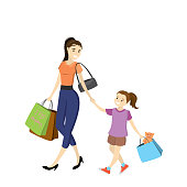 Mom and daughter with shopping bags