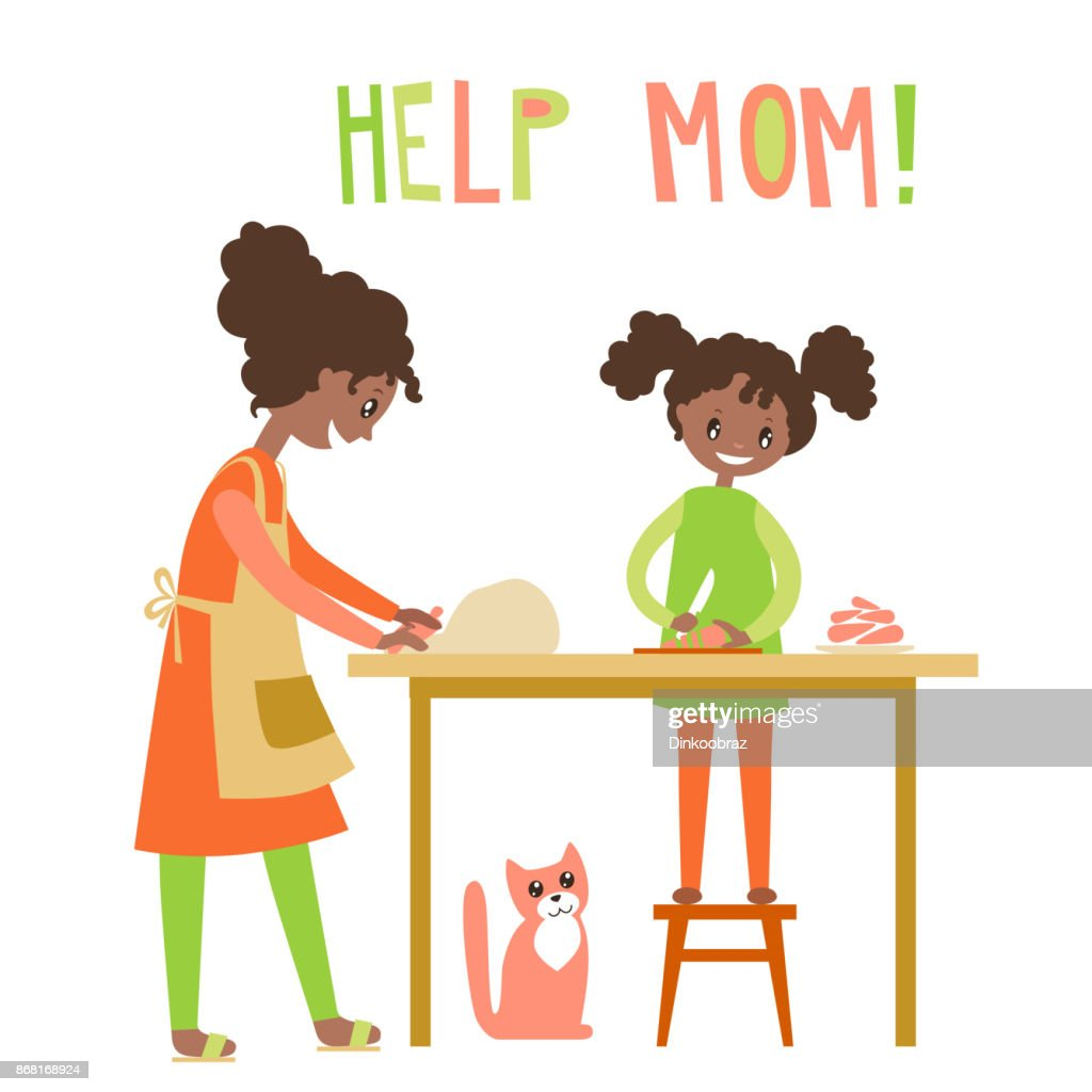 Mom and dauhter cooking together. Home help, upbringing. Vector