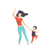 Mom and son dancing, kid having fun with her mother vector Illustration on a white background
