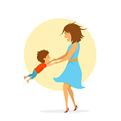 mom and son playing together, having fun, cute cartoon isolated vector illustration mothers day scene