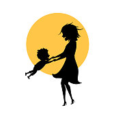 mom and son playing together isolated vector illustration mothers day silhouette scene