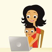 Mom and Son with Laptop