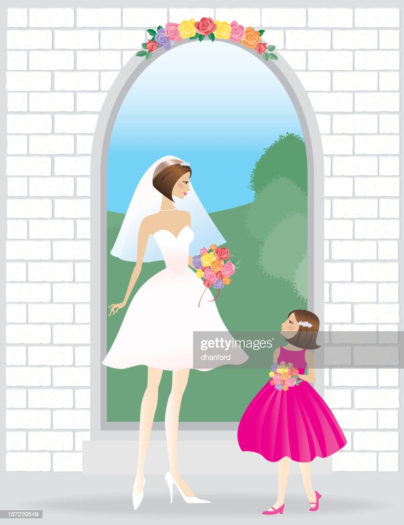 Mom bride with young daughter