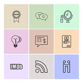 mom , chat ,loving, mirror, idea, dollar , profile ,imdb, wifi , eps icons set vector