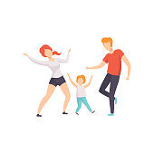 Mom, dad and son dancing, boy having fun with his parents vector Illustration on a white background