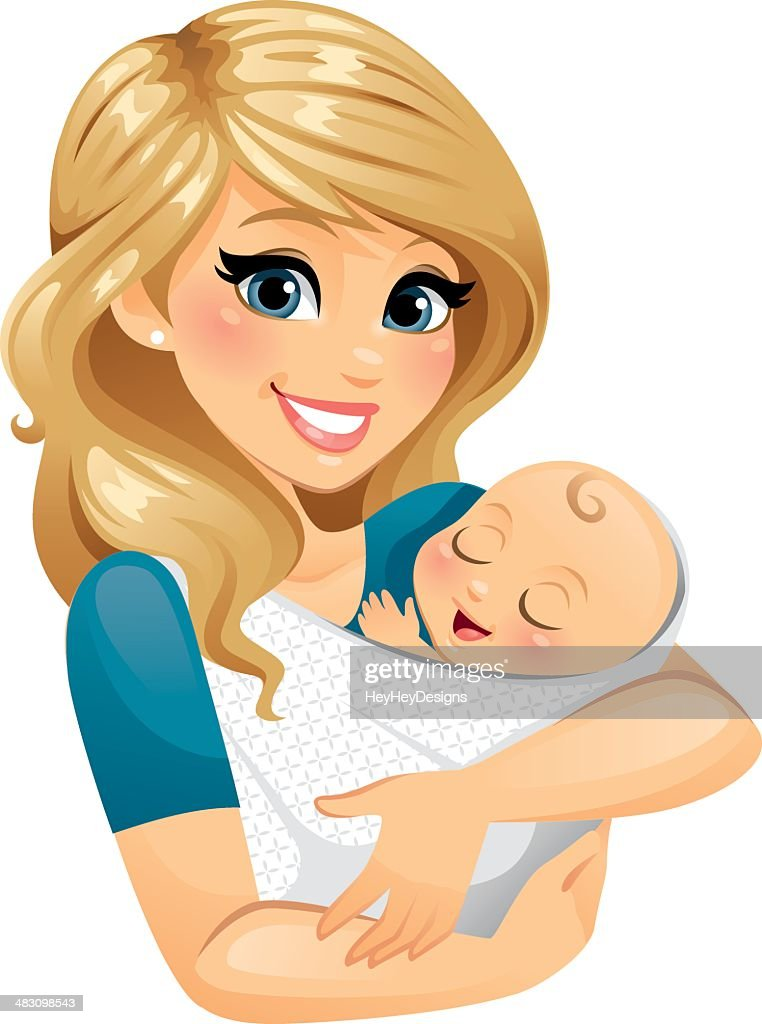 Mom Holding Baby : Stock Illustration