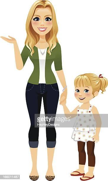 ilustrações de stock, clip art, desenhos animados e ícones de mãe de mãos dadas com a filha - loira