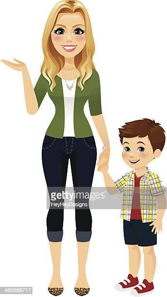 bildbanksillustrationer, clip art samt tecknat material och ikoner med mom holding hands with son - aunt