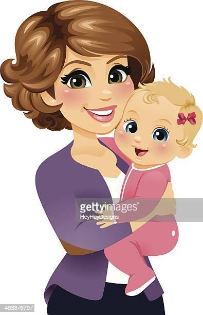 Mom Holding Her Baby Girl