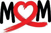Mom letters with abstract heart ribbon made from brush stroke.