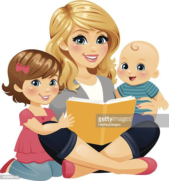 mom reading with children - carer stock illustrations, clip art, cartoons, & icons