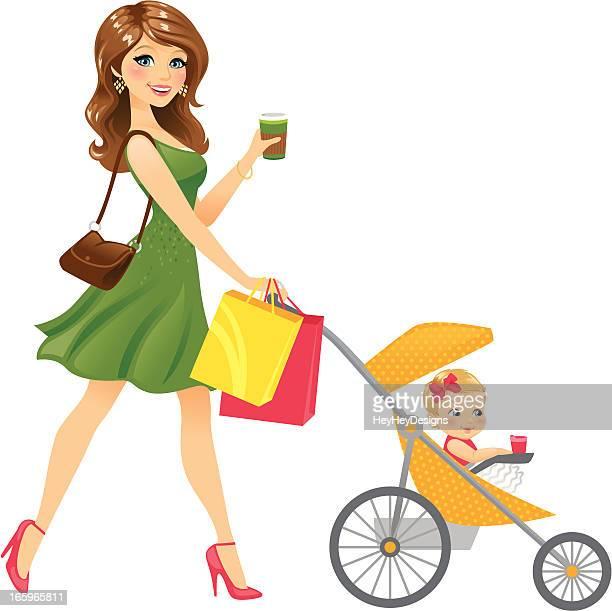 ilustraciones, imágenes clip art, dibujos animados e iconos de stock de madre a bebé en stroller - madre e hija