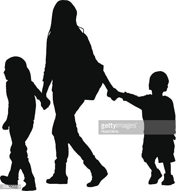 mom walking with kids - nanny stock illustrations