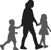 Mom Walking With Son And Daughter Silhouettes