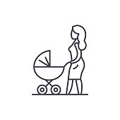 Mom with a baby carriage line icon concept. Mom with a baby carriage vector linear illustration, symbol, sign