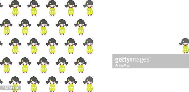 momiji doll repeating pattern - only japanese stock illustrations, clip art, cartoons, & icons
