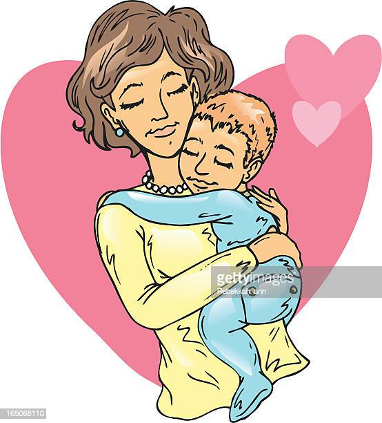 momma's love - kids hugging mom cartoon stock illustrations
