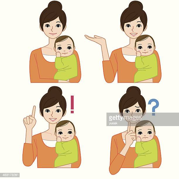 mommy and baby - nanny stock illustrations