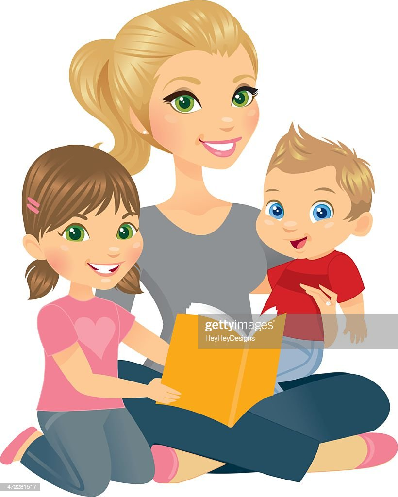 Mommy and Two Kids : stock illustration