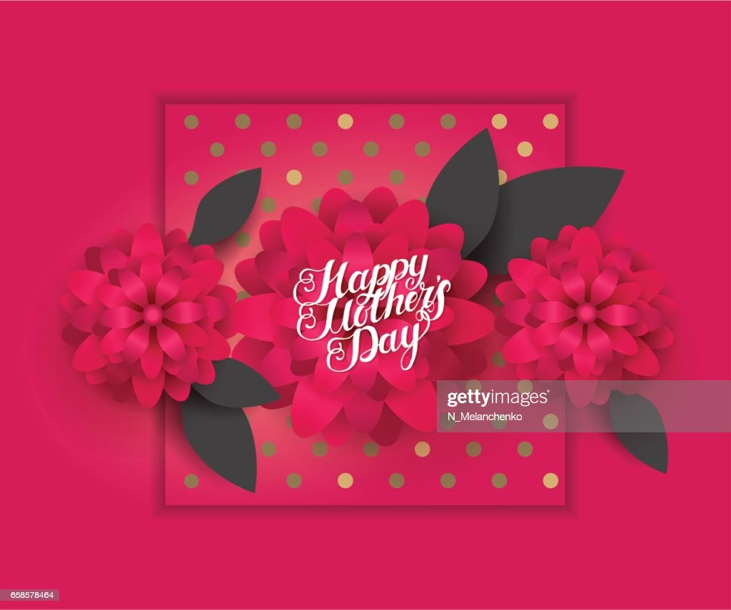 Moms Day Greeting Poster Design Happy Mothers Day Vector Card With