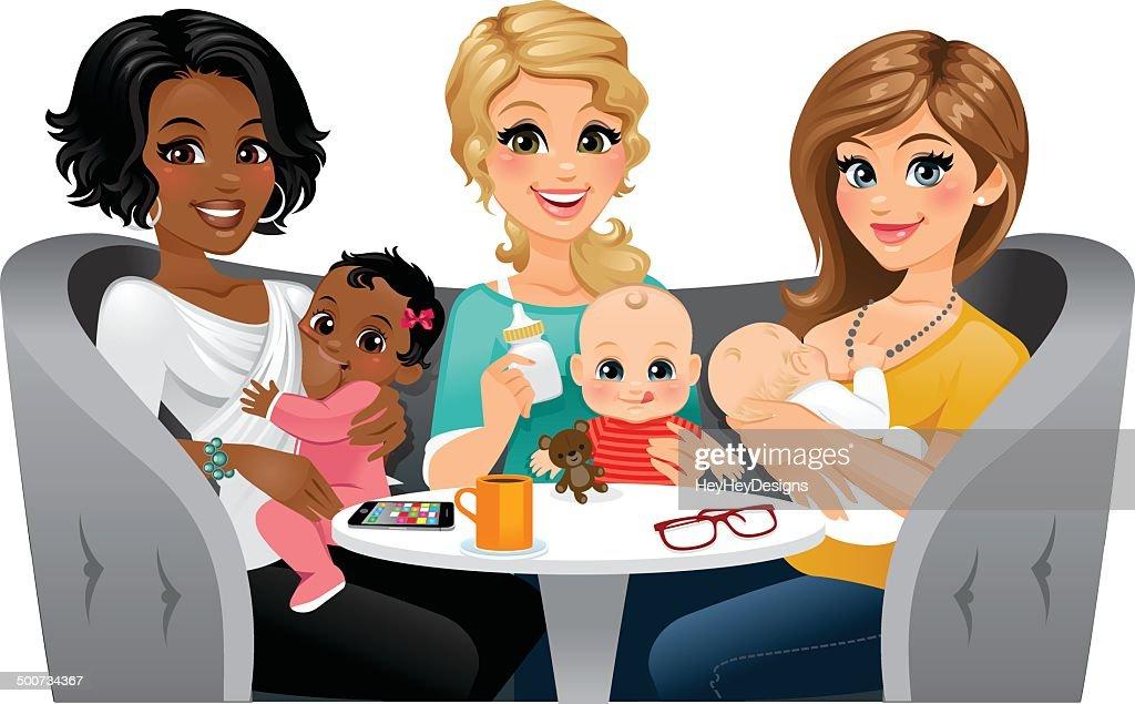 Moms Feeding their Babies : Stock Illustration
