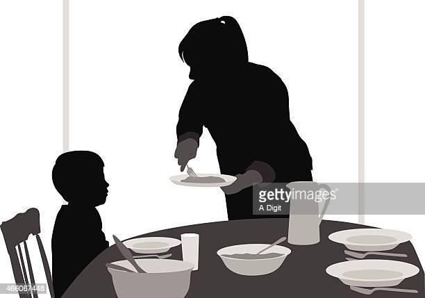 ilustrações de stock, clip art, desenhos animados e ícones de momserving - mesa cafe da manha
