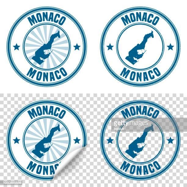 monaco - blauen aufkleber und stempel mit namen und karte - monaco stock-grafiken, -clipart, -cartoons und -symbole
