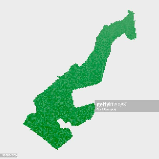 Monaco-Land-Map-grünen Sechseck-Muster