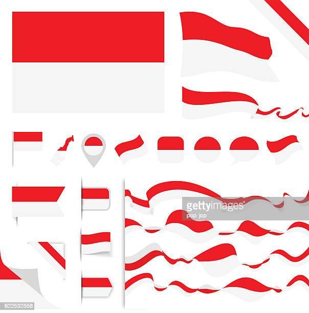 monaco flag set - monaco stock-grafiken, -clipart, -cartoons und -symbole