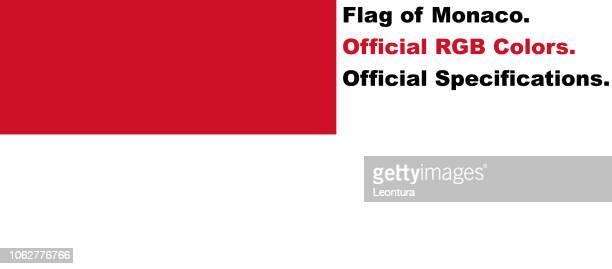 monaco fahne (offizielle rgb-farben, offiziellen spezifikationen) - monaco stock-grafiken, -clipart, -cartoons und -symbole