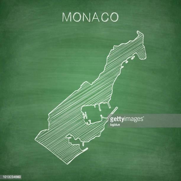 monaco karte gezeichnet auf tafel - tafel - monaco stock-grafiken, -clipart, -cartoons und -symbole