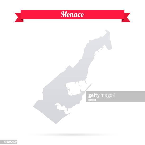 monaco-karte auf weißem hintergrund mit rotem banner - monaco stock-grafiken, -clipart, -cartoons und -symbole