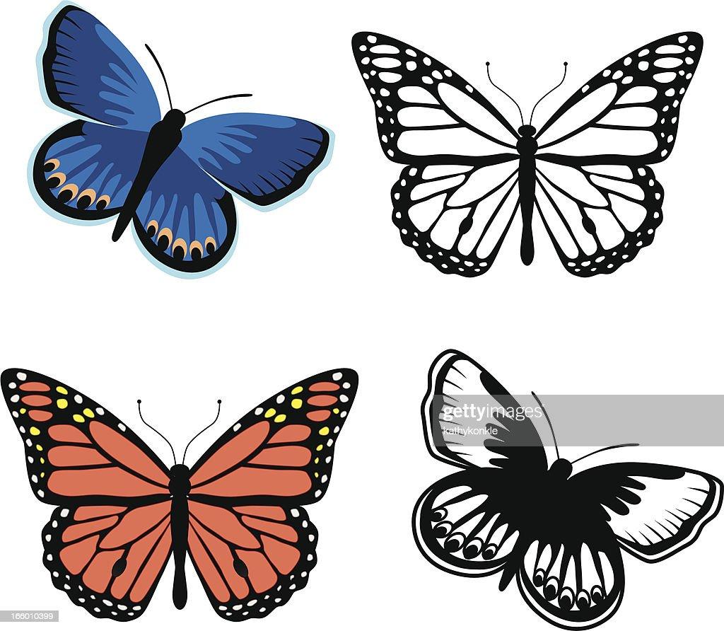 Monarch and Karner blue butterflies