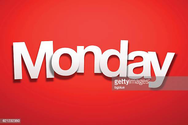 monday sign with red background - paper font - monday stock illustrations