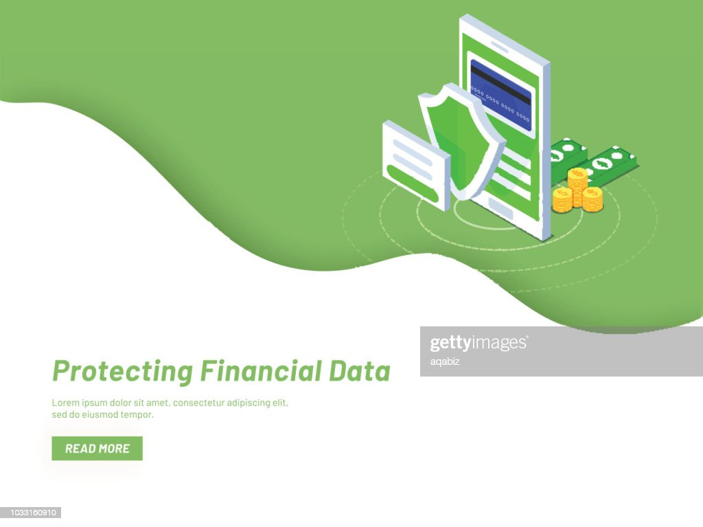 Monetary data protection, isometric smartphone with coin stacks and banknote on green background, isometric design of Protecting Financial Data concept based website landing page.