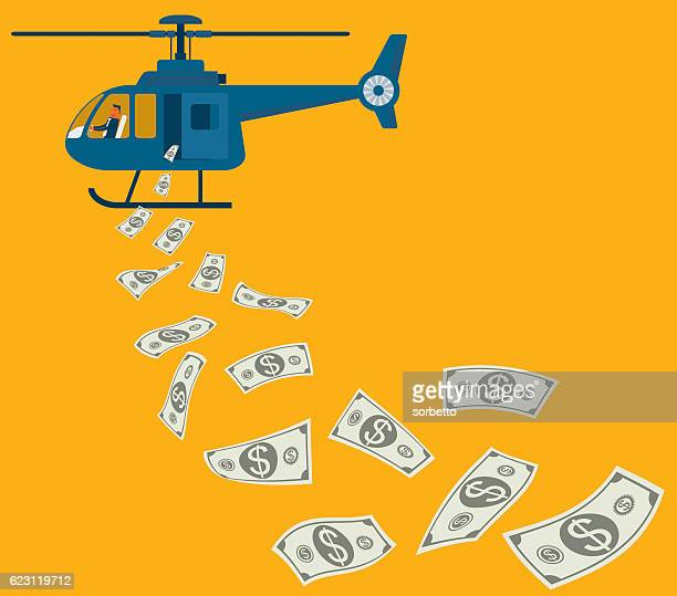monetary policy - helicopter stock illustrations