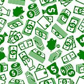 Money abundance and savings seamless pattern