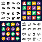 Money All in One Icons Black & White Color Flat Design Freehand Set