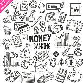 Money and Banking Design elements. Black and White Vector Doodle Illustration Set. Editable Stroke.
