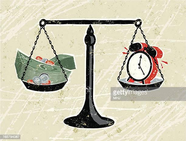ilustrações, clipart, desenhos animados e ícones de dinheiro e relógio em balanças - tempo é dinheiro