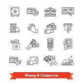 Money and commerce icons thin line set